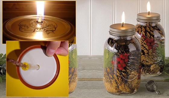 Новогодние поделки из шишек: свеча