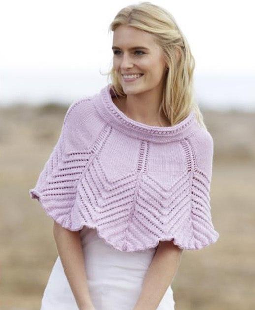 Манишка спицами для женщин: нежно-розовая