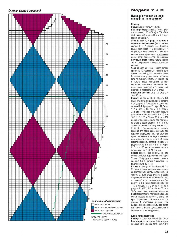 Женский пуловер спицами 2018 - сливовый схема ромбы