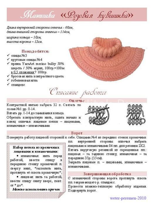 Манишка спицами для женщин: схема 1