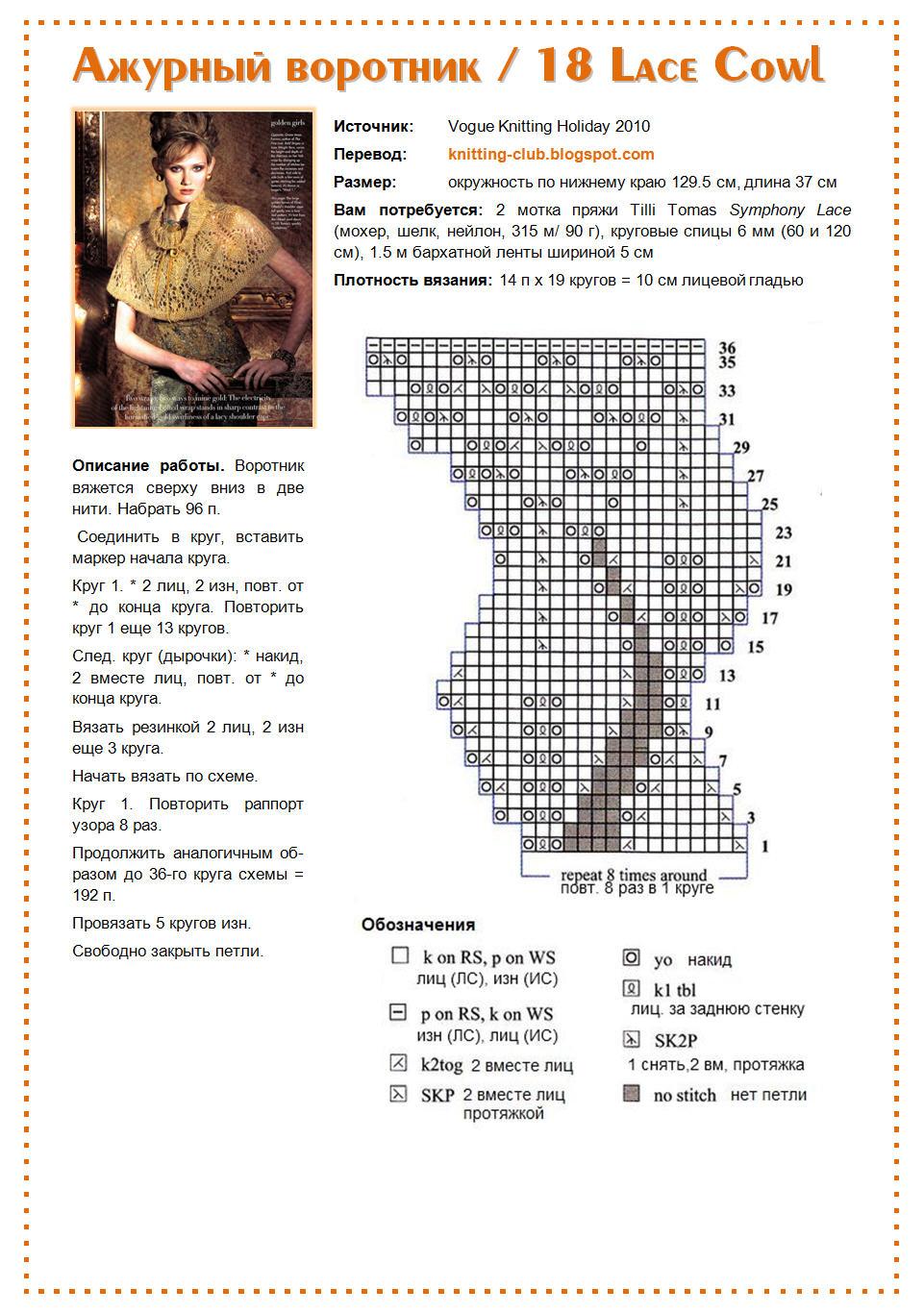 Манишка спицами для женщин: схема 2