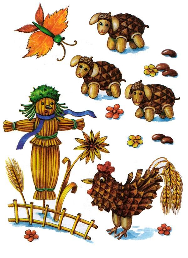 Поделки из шишек и желудей: композиция для сада