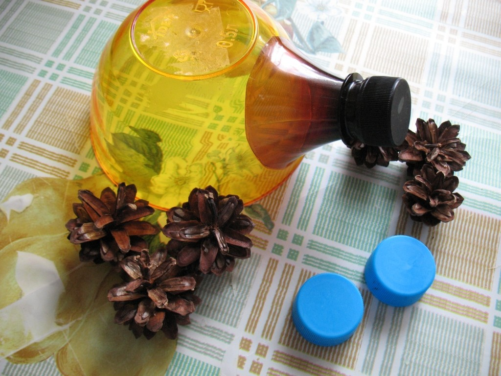 ежик из пластиковой бутылки и шишек: мастер класс шаг 2
