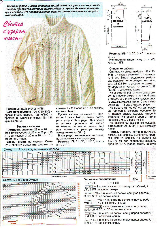 Связать свитер спицами для женщины: модель 1