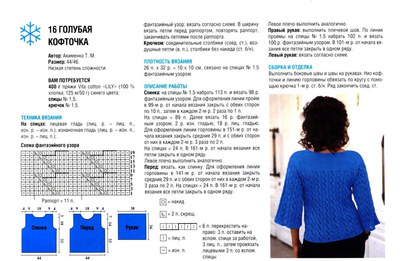 Кофта спицами для женщин: схема 7