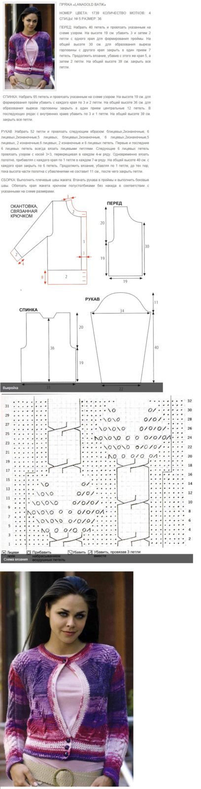 Кофта спицами для женщин: схема 2