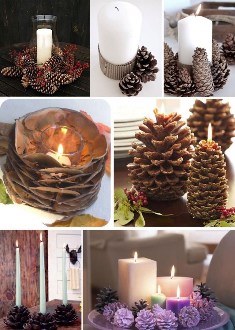 Новогодние поделки из шишек: декор для свечей