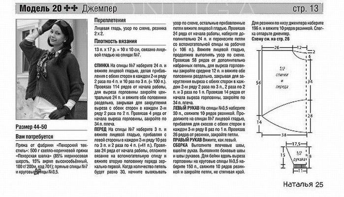 Джемпер женский спицами схемы и описание 2018 (фото 20)
