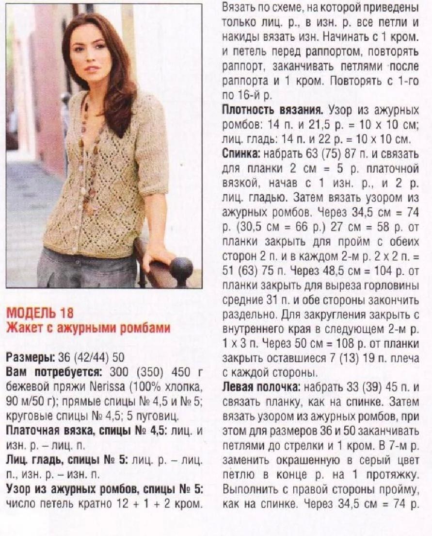 Кофта спицами для женщин: схема 3