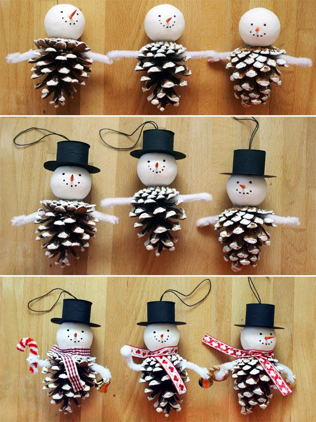 Новогодние поделки из шишек: снеговик