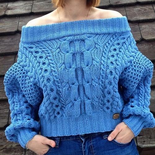 Связать свитер спицами для женщины: модель 5 рубан