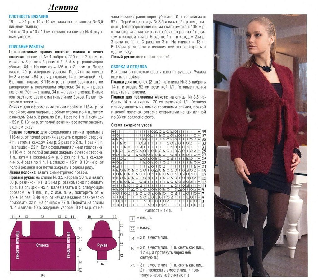 Кофта спицами для женщин: схема 6