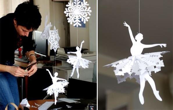 Снежинки-балеринки из бумаги: декор для дома