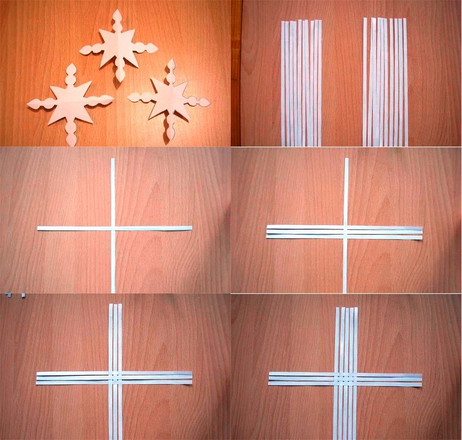 Объемная снежинка из бумажных полос (фото 1)