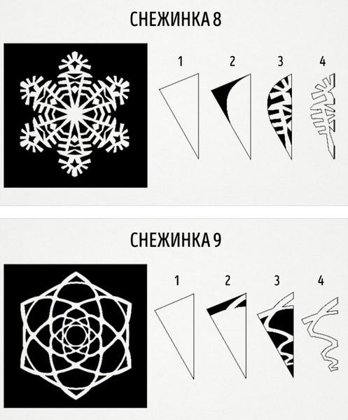 Как сделать снежинку из бумаги: шаблон 10