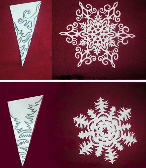 Как сделать снежинку из бумаги: шаблон 12