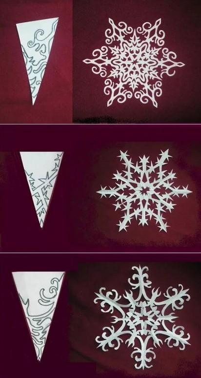 Как сделать снежинку из бумаги: шаблон 13