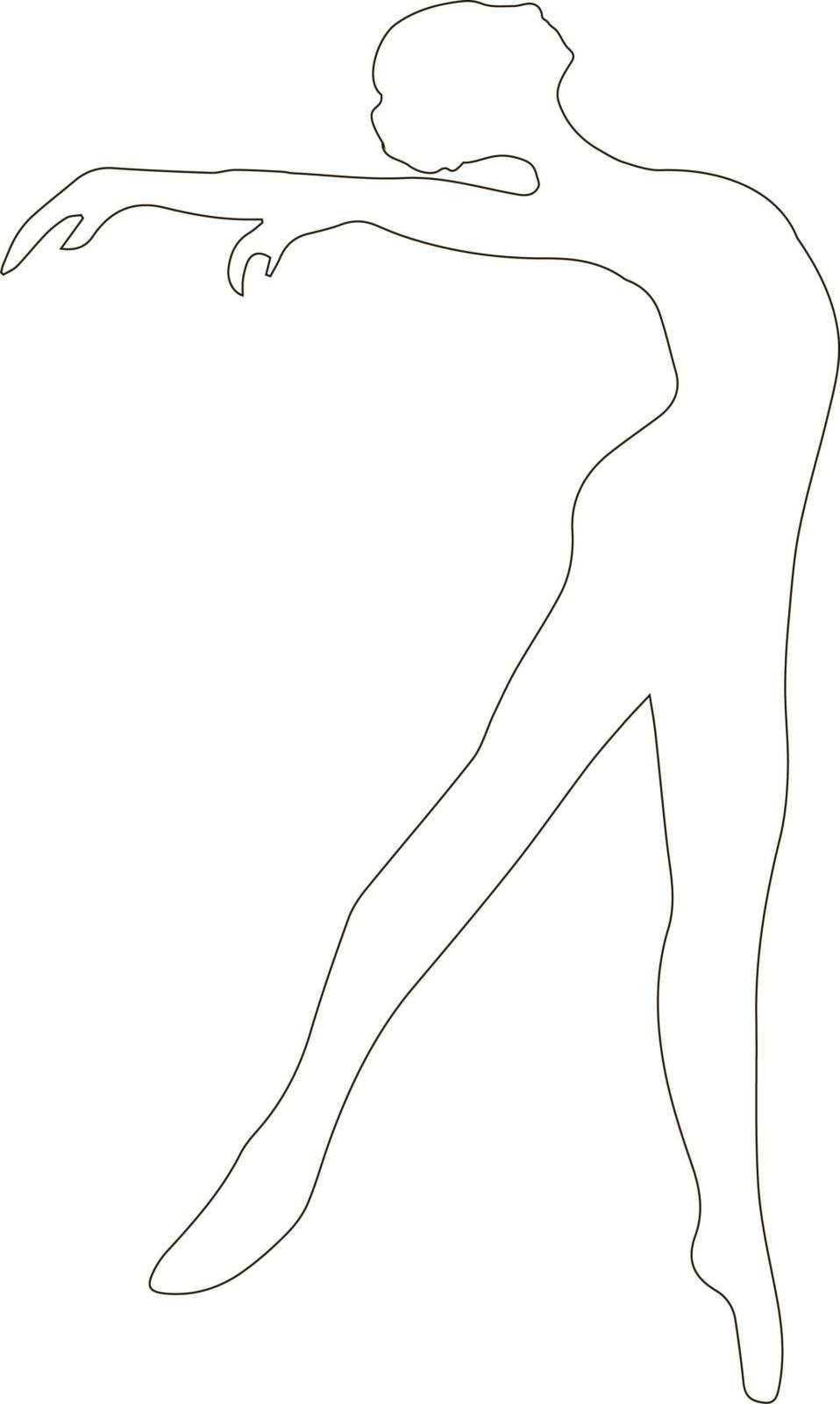 Снежинки-балеринки из бумаги: шаблон 3