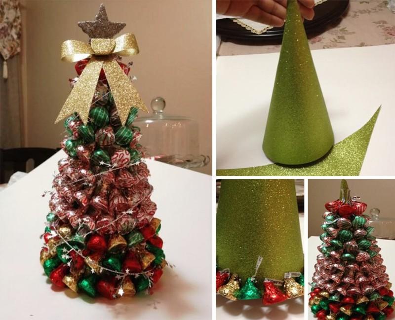 Как сделать елку из конфет пошагово