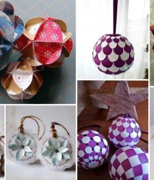 Бумажные новогодние шарики