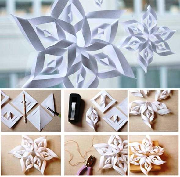 Объемные снежинки из бумаги: мастер-класс