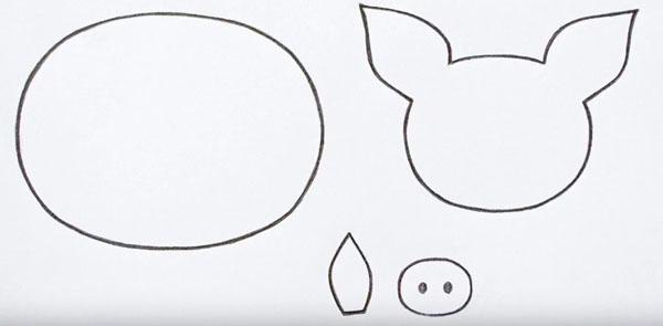 Выкройки на 2019 год свиньи: шаблон 5