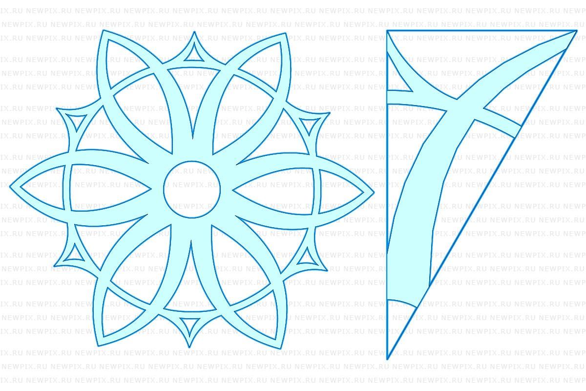 Как сделать снежинку из бумаги: шаблон 2