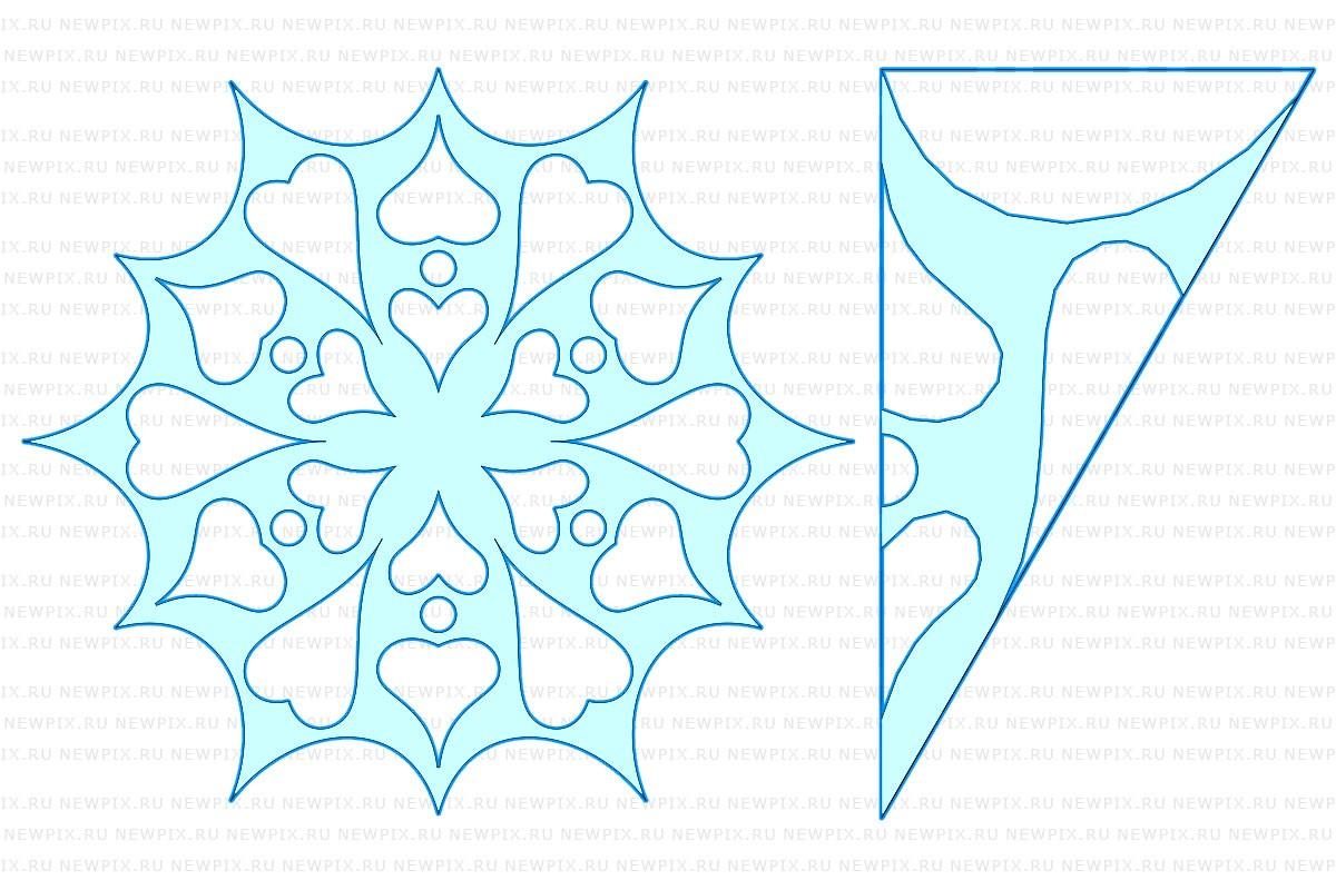 Как сделать снежинку из бумаги: шаблон 4