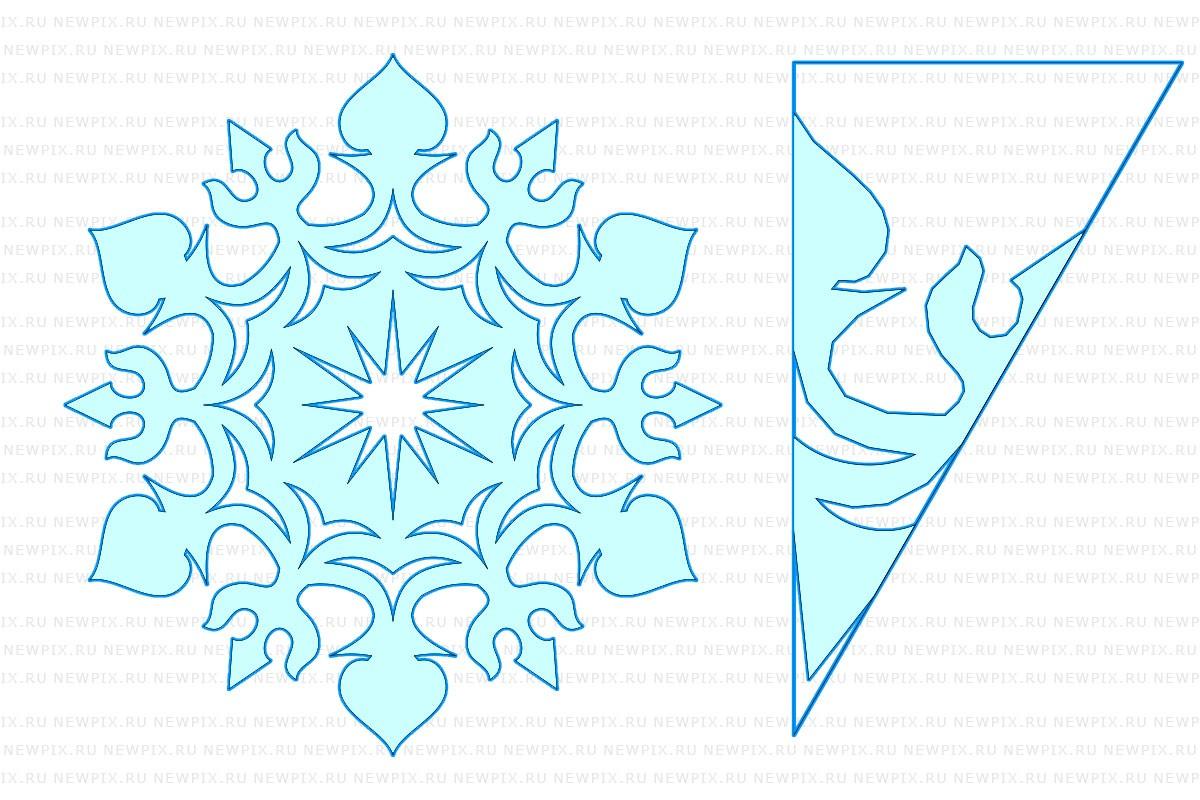 Как сделать снежинку из бумаги: шаблон 5