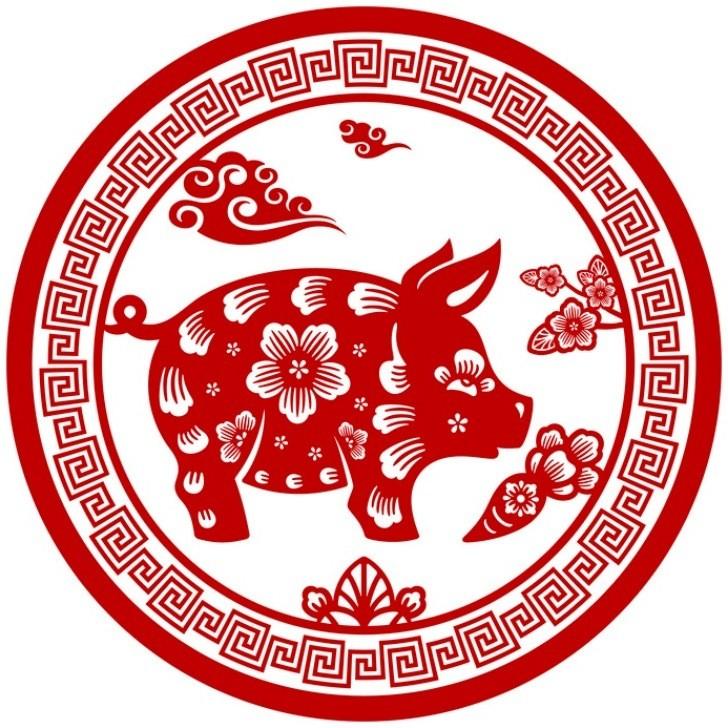 Вытынанки на 2019 год свиньи: шаблон 2