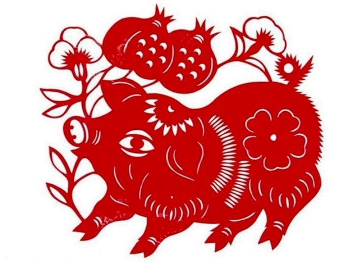 Вытынанки на 2019 год свиньи: шаблон 7