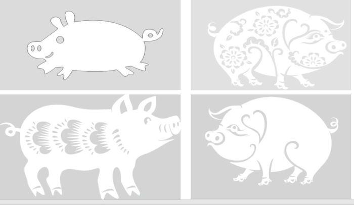 Вытынанки на 2019 год свиньи: шаблон 8