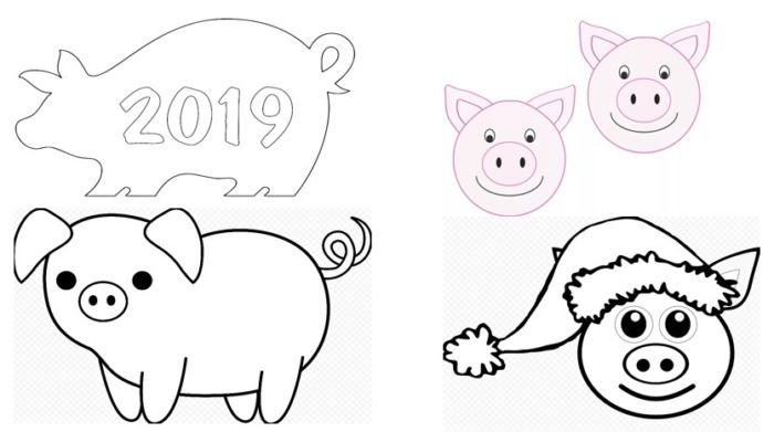 Вытынанки на 2019 год свиньи: шаблон 9