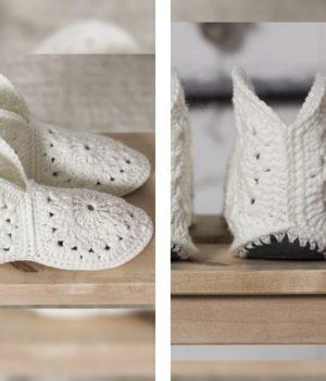 Красивые белые тапочки следки