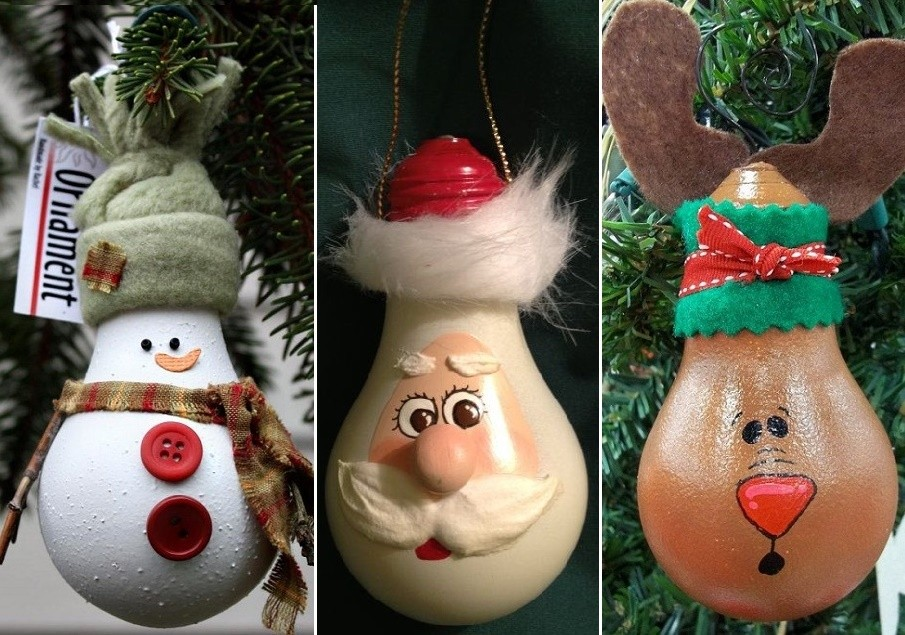 Новогодняя игрушка на елку в детский сад: из лампочек