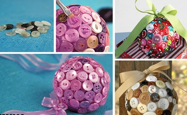 Новогодние поделки в детский сад: шар из пуговиц