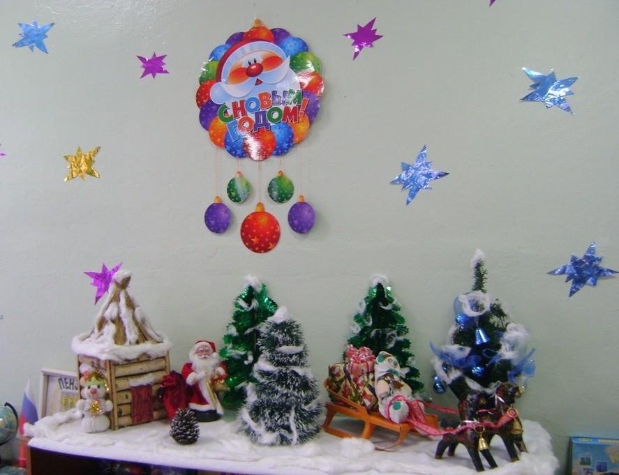 Оформление группы к Новому году в детском саду: экспозиция