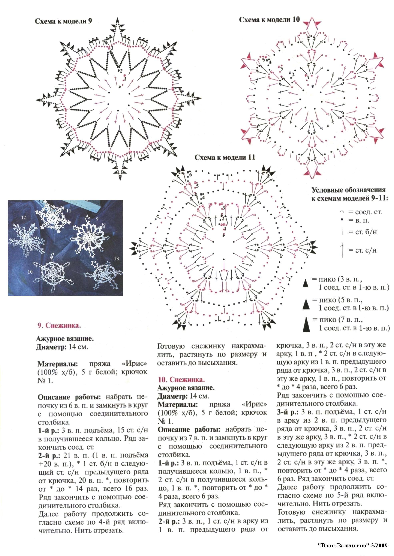 Снежинка крючком: схемы и описание (11)