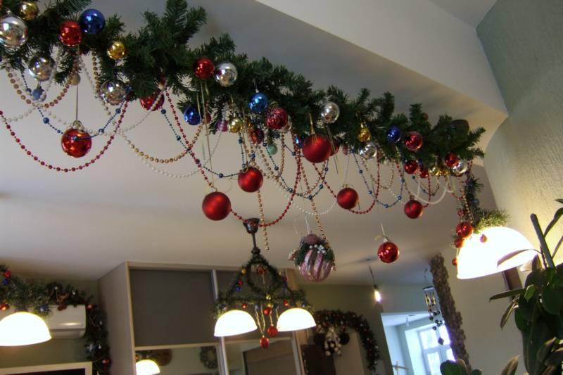 Оформление группы к Новому году в детском саду: потолок