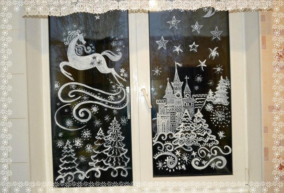 Оформление группы к Новому году в детском саду: окно