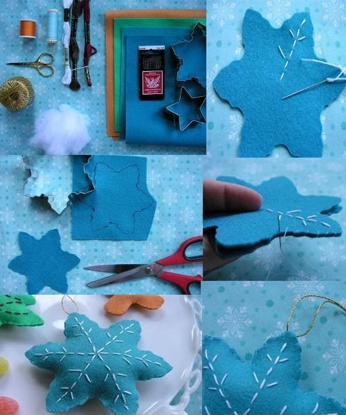 Елочные игрушки из фетра своими руками: снежинка