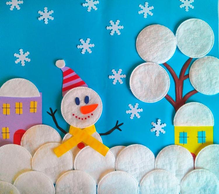 Новогодние поделки в детский сад: из ватных дисков