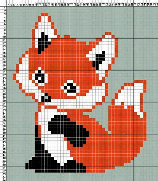 Плед крючком: схема лисичка