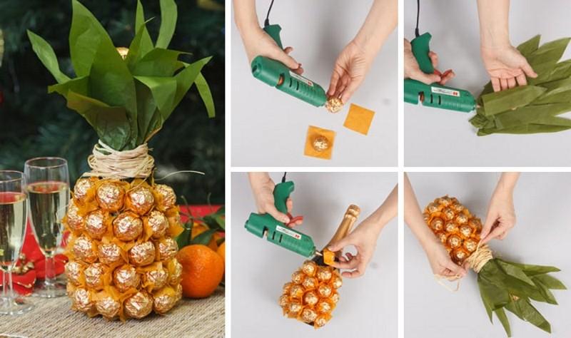 Как украсить своими руками бутылку шампанского: ананас из конфет