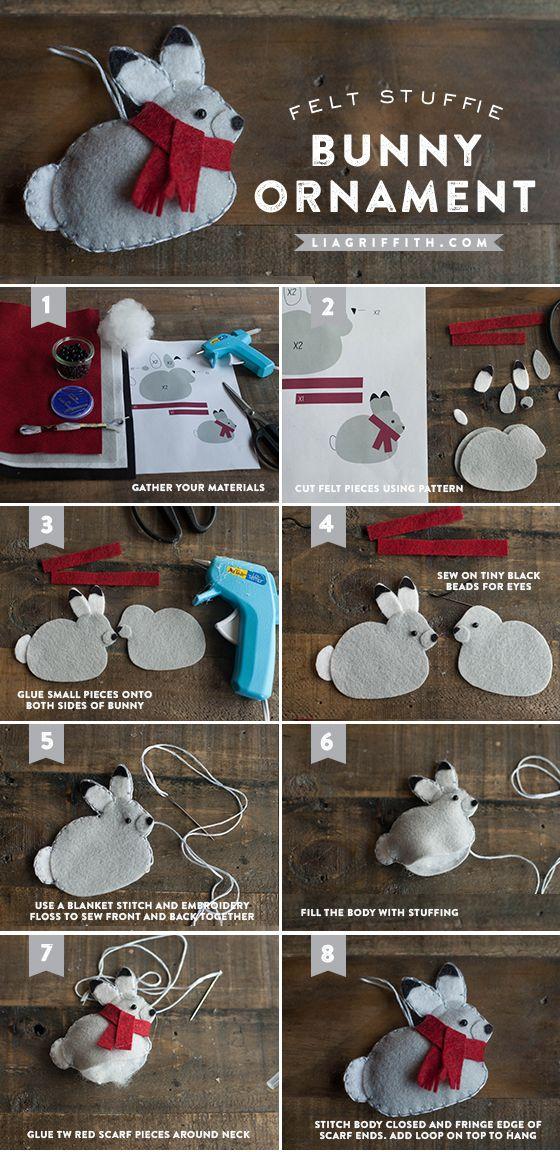 Елочные игрушки из фетра своими руками: кролик