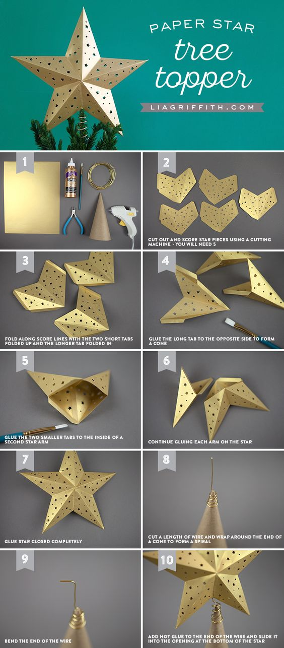 Елочные игрушки из бумаги своими руками: золотая звезда