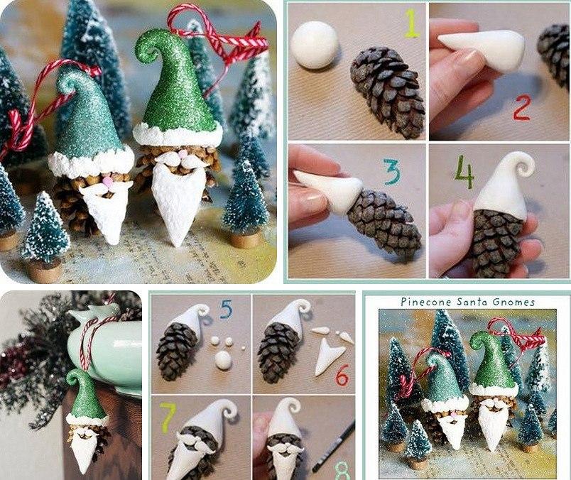 Новогодняя игрушка на елку в детский сад: из шишек