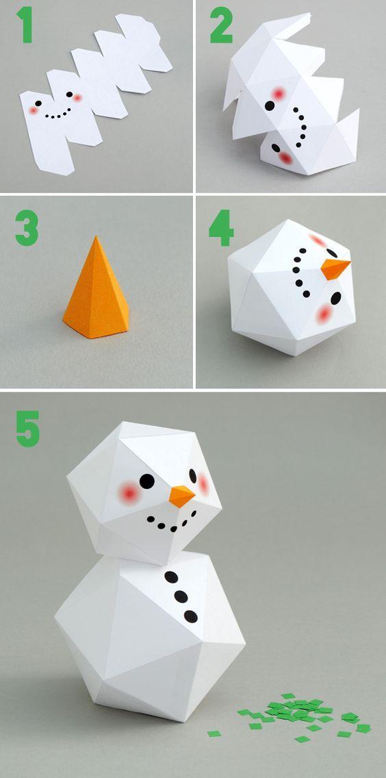 Елочные игрушки из бумаги своими руками: снеговик