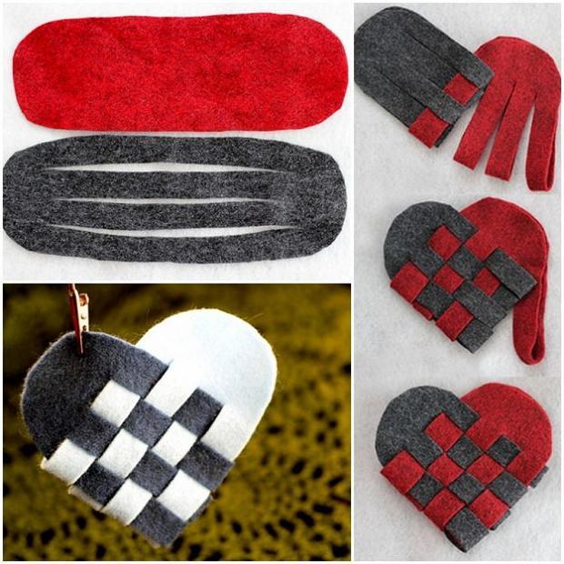 Елочные игрушки из фетра своими руками: сердце