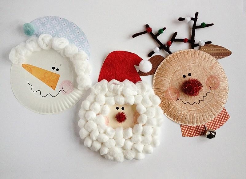 Новогодняя поделка в детский сад на выставку: фигурки из тарелок